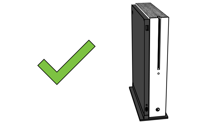 An Xbox One S console correctly positioned on its side with the vertical stand.