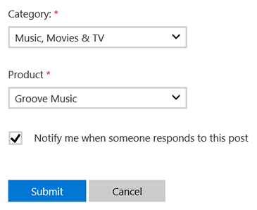 The 'Category and 'Product' dropdown boxes are shown, with 'Music, Movies & TV' and 'Groove Music' selected.