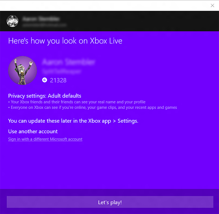 The 'Here's how you look on Xbox Live' screen in the Xbox app