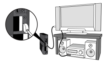 An illustration shows an HDMI cable connecting an Xbox 360 E console to a TV along and a standard stereo audio cable connecting the TV to a stereo receiver.