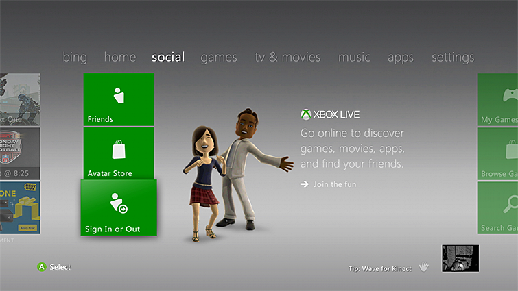 The 'Sign In or Out' option is selected from the social tab on the Xbox 360 console.
