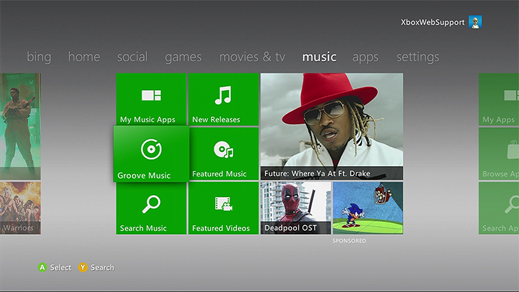 The Groove Music tile is emphasized on the Xbox 360 Dashboard
