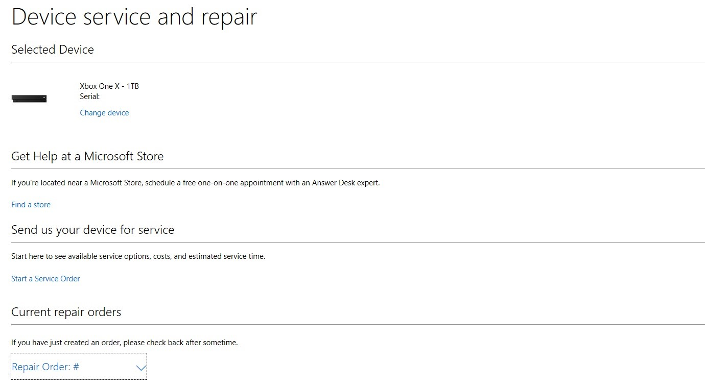 b22fce8003 Help with Your Existing Xbox Console or Accessory Service Order