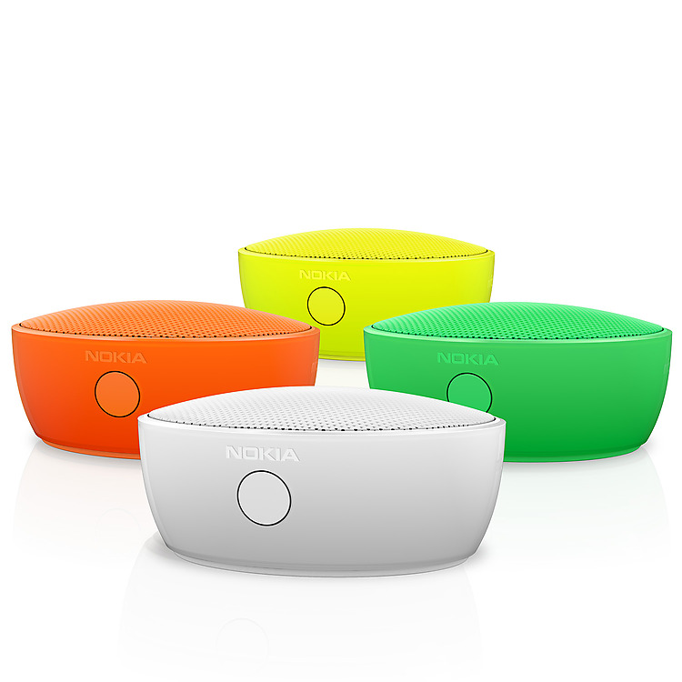 Four Nokia Portable Wireless Speakers of different colors arrange in a diamond formation as seen from the front