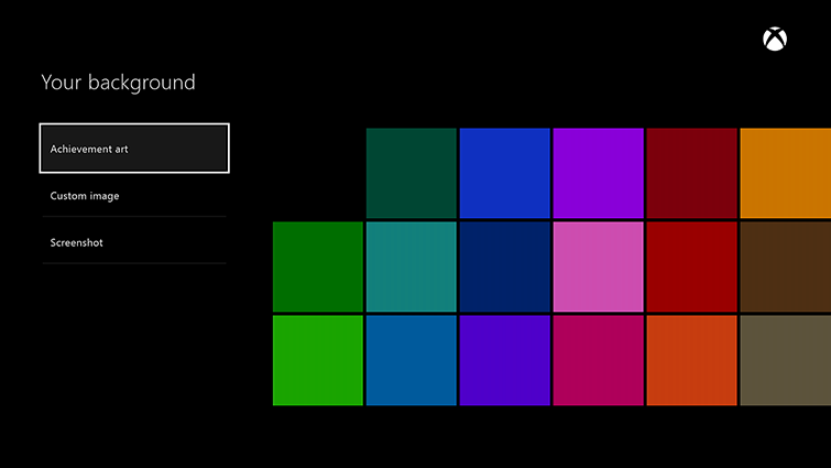 xbox one dashboard colors