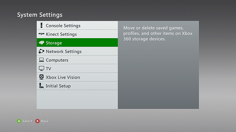 The Storage category is highlighted on the System Settings screen.