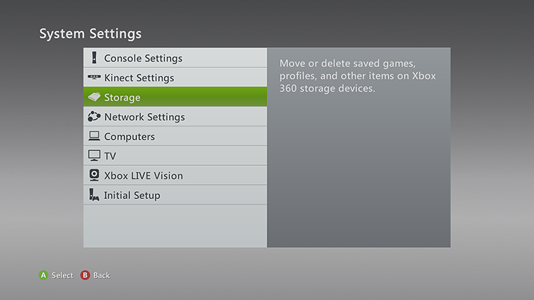 The System Settings screen, with 'Storage' selected.
