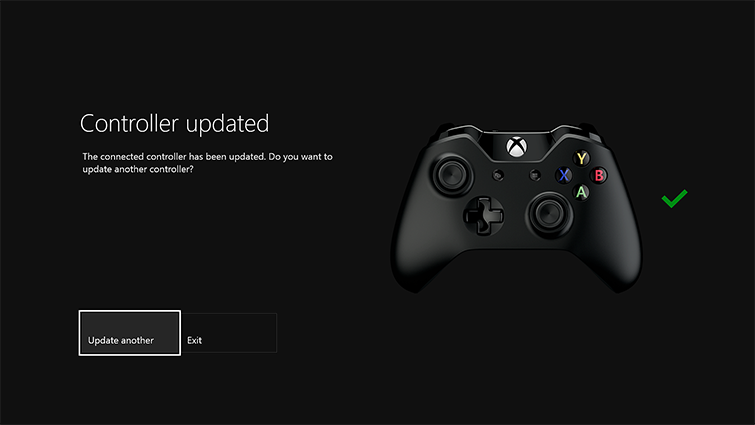 "A screen shows the words ""Controller updated"" along with buttons to ""Exit"" or ""Update another,"" which is highlighted."
