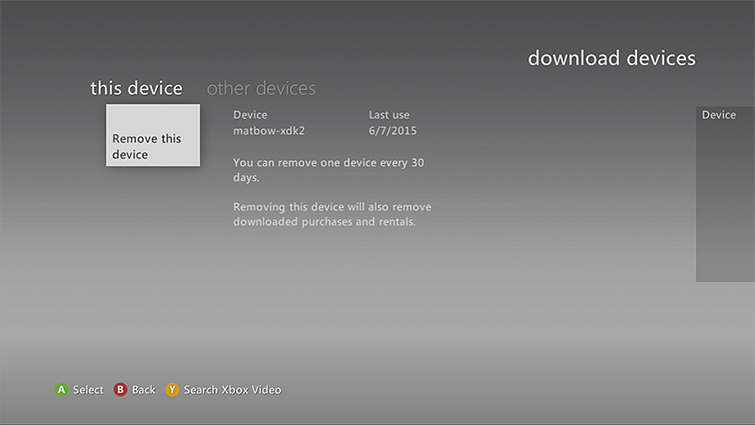 The 'Remove this device' tab is selected on the download devices screen.