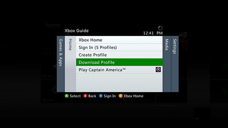 Download Profile is highlighted on the Xbox Guide screen.