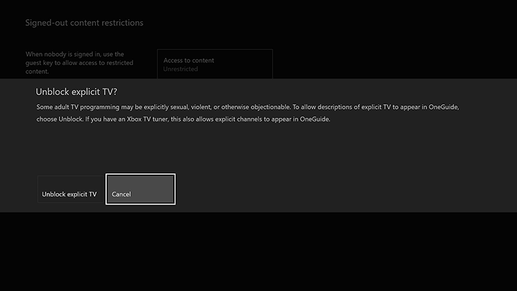 The 'Unblock explicit TV?' confirmation screen, with options for 'Unblock explicit TV' and 'Cancel', which is highlighted.
