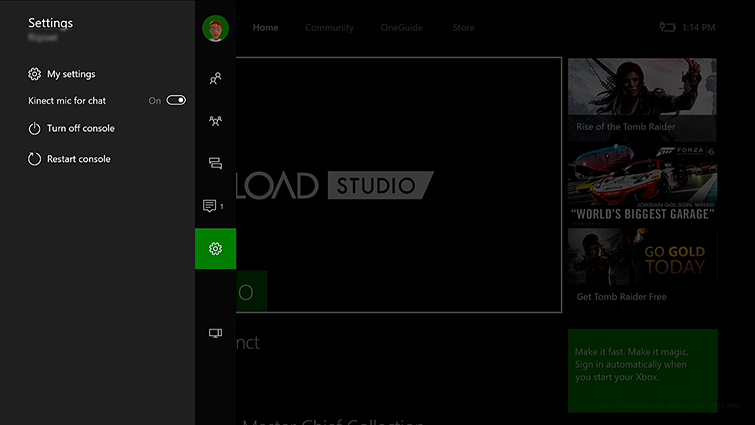 The Settings screen in the Xbox Guide, with the 'Kinect mic for chat' option turned on