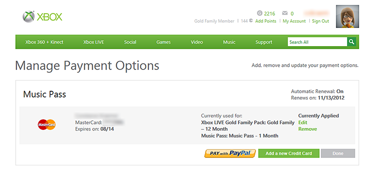 Updating xbox live credit card