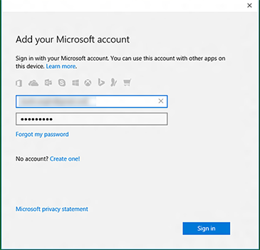 The 'Add your Microsoft account' screen in the Xbox app, with text boxes to add your Microsoft account email address and password