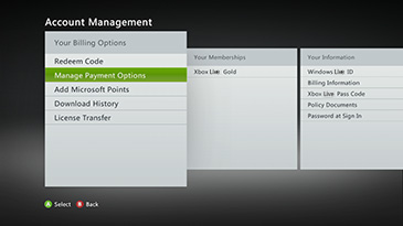 Manage Payment Options screen on an Xbox 360 console.