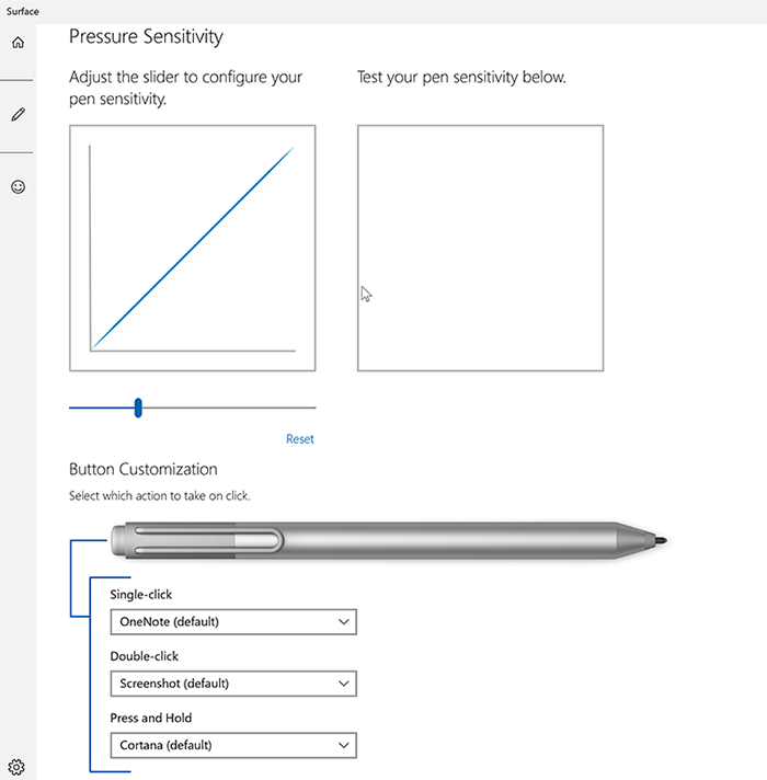 The Surface Pen Button Customization screen includes options for specifying the action to be performed by a single click, double click, and press and hold.