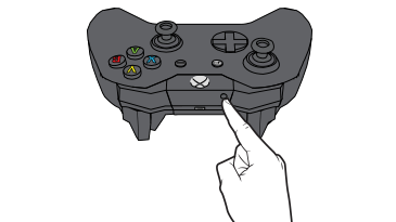 A hand with an extended index finger reaches to press the wireless connect button on the front of the Xbox One controller.