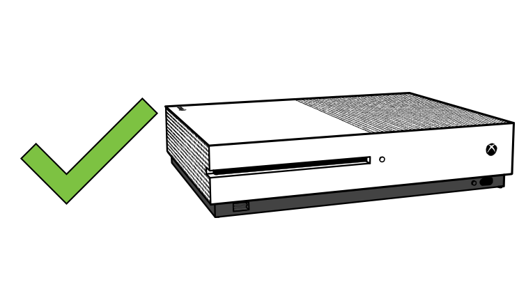 An Xbox One S console correctly placed horizontally without the vertical stand.