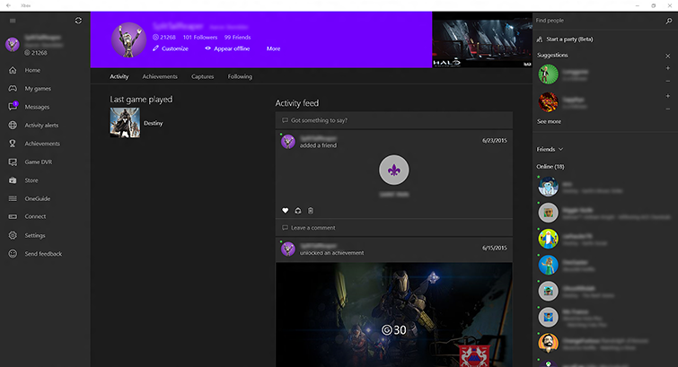 """Customize"" is selected at the top of the profile screen in the Xbox app on Windows 10."