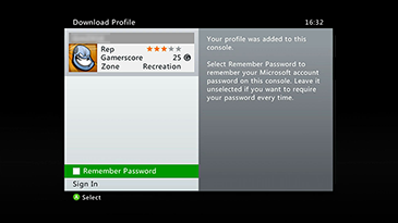 The Xbox 360 'Download Profile' screen showing the 'Remember Password' option highlighted.