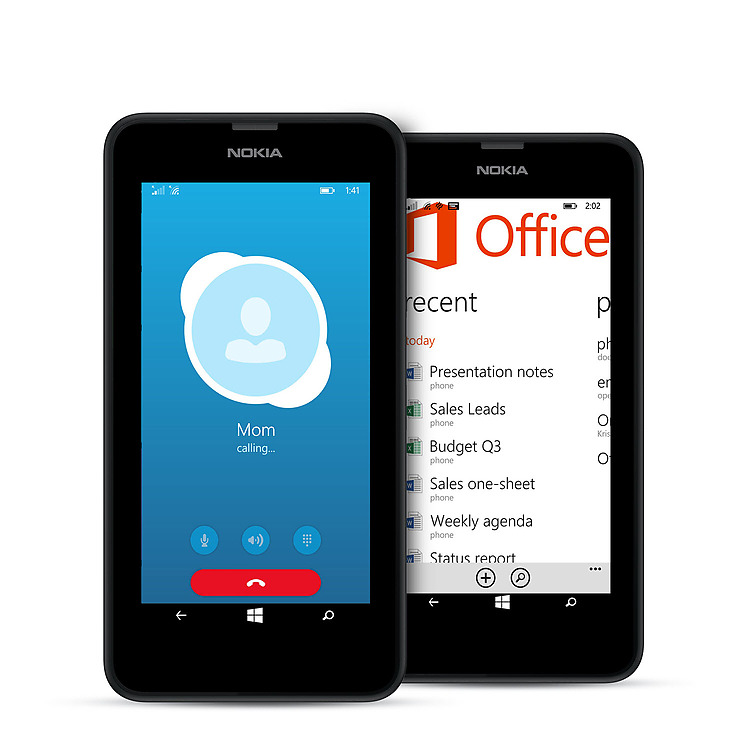 Two black Lumia 635 phones with Office and Skype screens