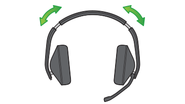 A drawing shows the two fit-adjustment sections of the Xbox Stereo Headset, which are located near the top of both side arms.