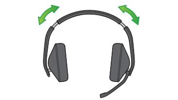 Bir çizim, iki taraftaki kolların üzerinin yanında yer alan Xbox Stereo Mikrofonlu Kulaklığın iki adet uygunluk ayarlama kısmını gösterir.