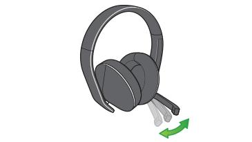 Eine Zeichnung zeigt die Entfernungseinstellung für die Mikrofonhalterung.