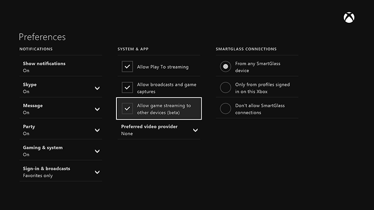 The Preferences screen is displayed. Under SYSTEM & APP, the 'Allow game streaming to other devices (beta)' checkbox is selected.
