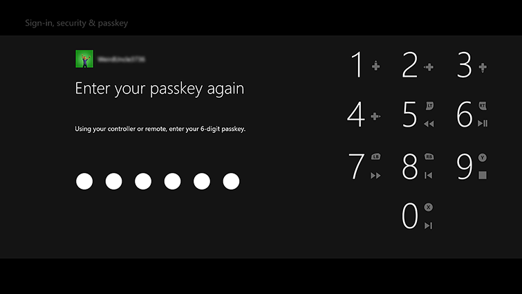 The passcode entry screen includes a number pad and the words 'Using your controller or remote, enter your 6-digit passkey'.