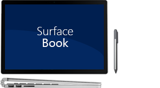 Front and side view of Surface book, plus pen