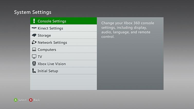 """Na obrazovce System Settings je vybrána možnost """"Console Settings""""."""