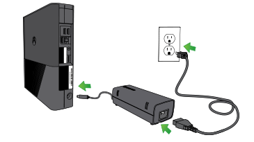 An illustration showing the power cord plugged into the back of an Xbox 360 E console, the power supply plugged into the electrical outlet, and the short cord plugged into the power supply.