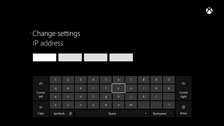 The IP address/change settings screen on Xbox One, which includes an on-screen keyboard