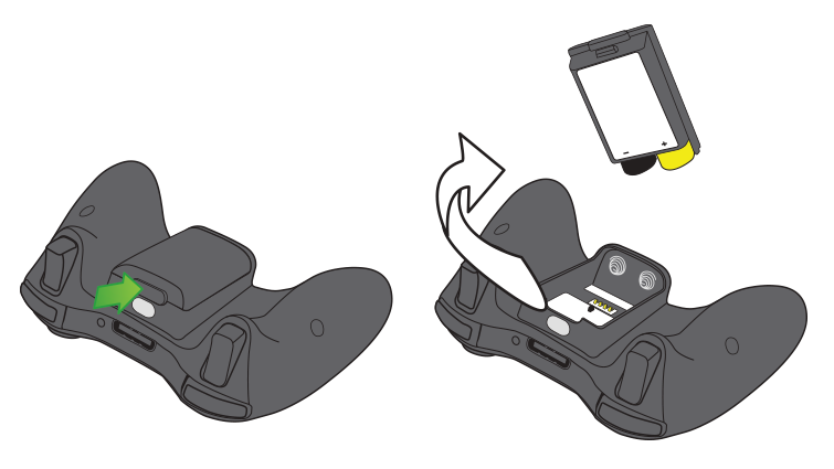 Two illustrations of the Xbox 360 controller. One shows the tab on the outside of the battery pack, and the other shows the battery pack removed from the controller.