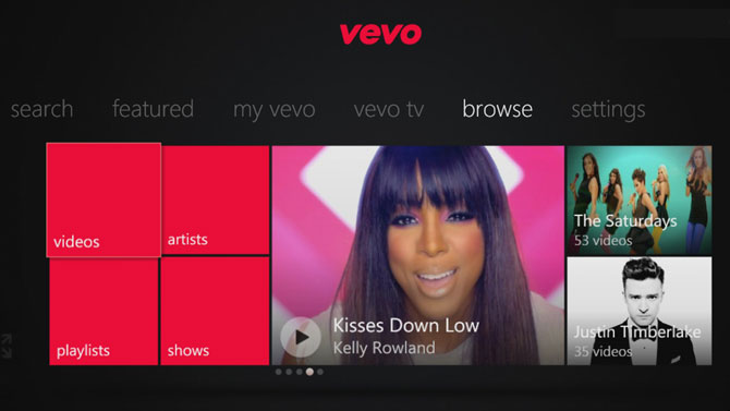 VEVO screen on Xbox360