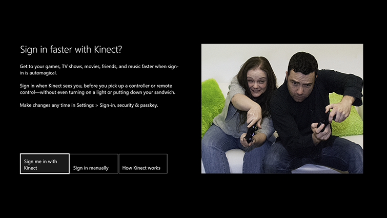 A Kinect screen offers options for 'Sign in manually' and 'Sign me in with Kinect,' which is highlighted.