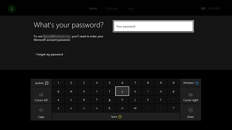 The 'What's your password?' screen with an on-screen keyboard