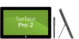 Vista anteriore e laterale di Surface Pro 2