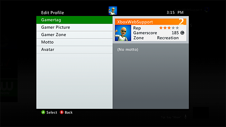"The Edit Profile screen is displayed, with the ""Gamertag"" option highlighted."