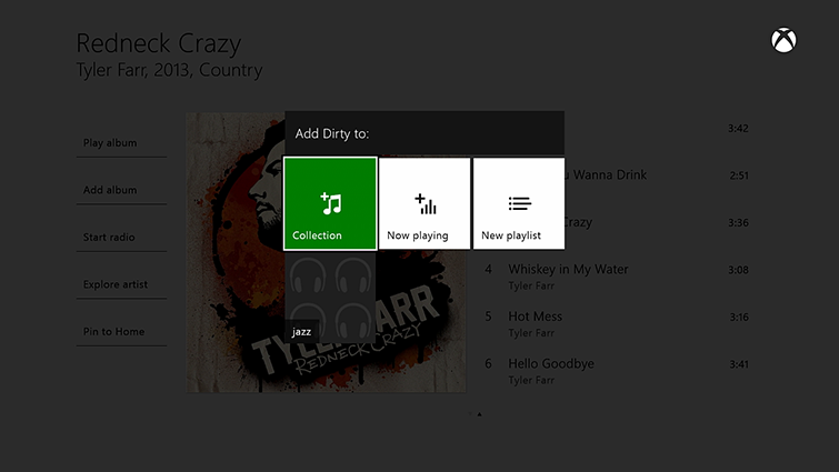 The Groove Music screen shows the option highlighted to add a song to the user's collection, as well as the option for 'New playlist'.