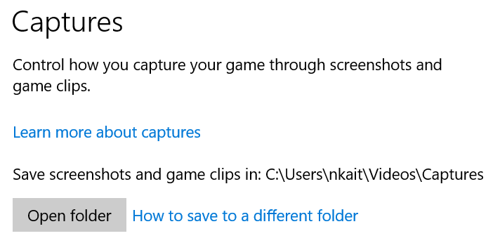 Adjust capture settings on Windows 10