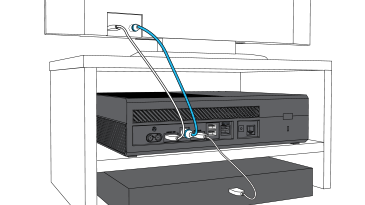 An illustration shows an HDMI cable and an optical cable plugged into a TV and an Xbox One console, and another HDMI cable plugged into the Xbox One and a set-top box.