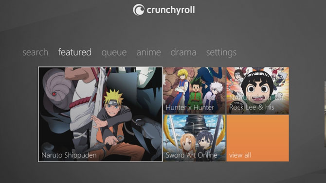 Crunchyroll screen on Xbox360