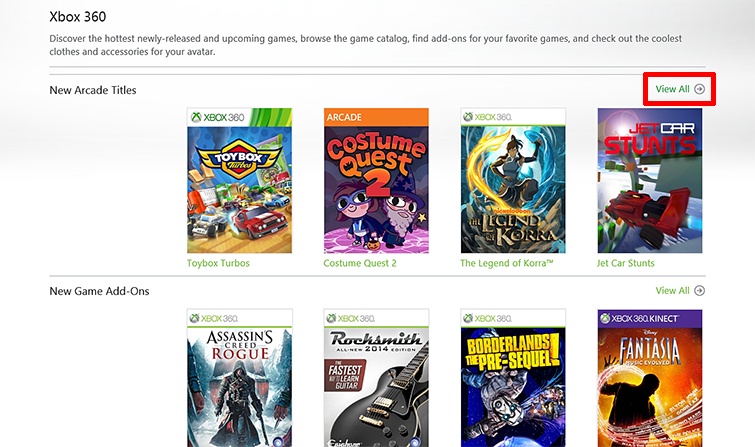 The 'View all' button is emphasized on the right side of a panel called 'New Arcade Titles' in the Xbox Games Store.