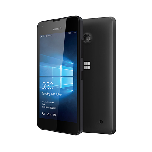 Two black Lumia 550 phones with one facing backward showing camera and the other facing forward with Windows 10 lock screen