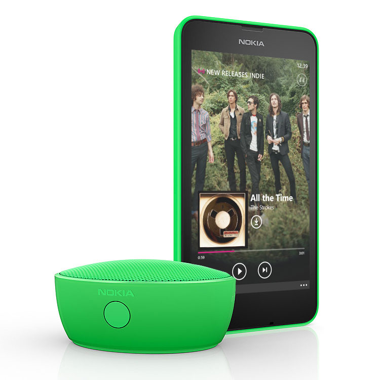Green Nokia Portable Wireless Speaker with green Lumia phone