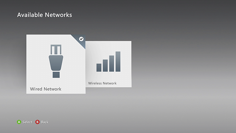 "Select ""Wired Network"" or the name of your wireless network."