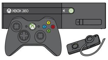 Egy Xbox 360 kontroller és egy vezeték nélküli fejhallgató látható egy Xbox 360 E konzol előtt.