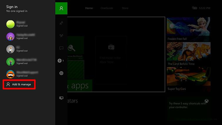La opción 'Agregar y Administrar' está resaltada en la pantalla iniciar sesión.